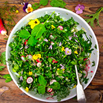 spring salad for canapes menus served in bowl food